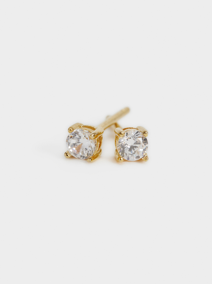925 Silver Stud Earrings With Zirconia, Golden, hi-res