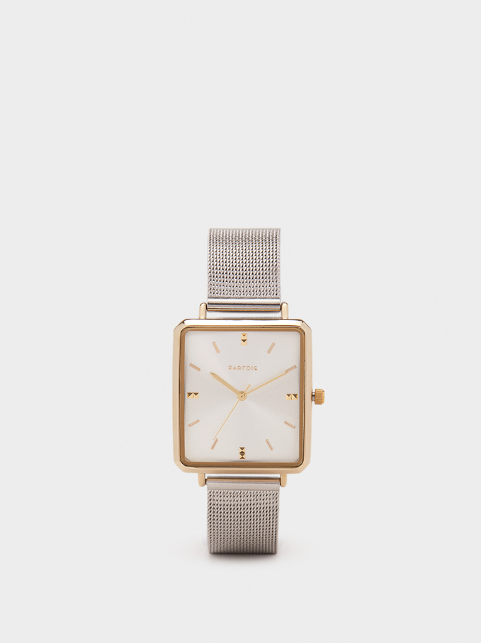 Watch With Square Face, Golden, hi-res