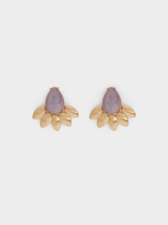 Short Earrings With Gem, Violet, hi-res