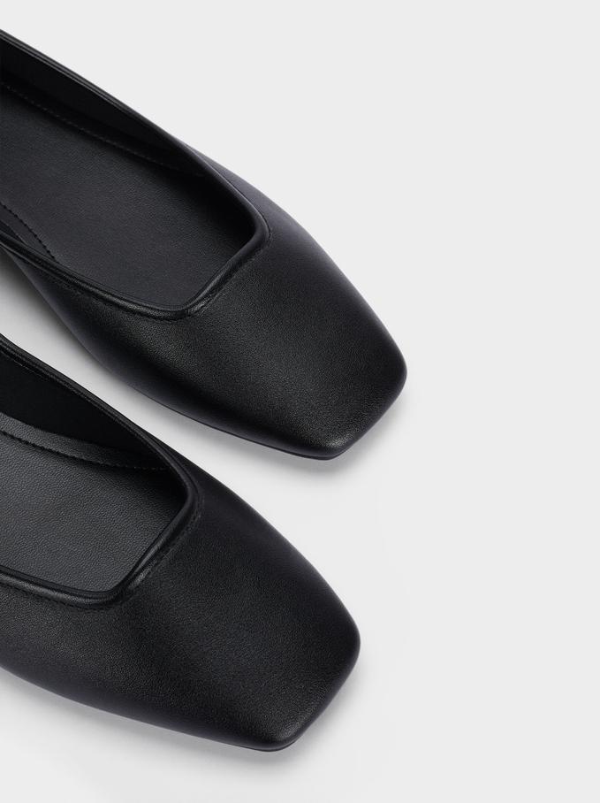 Square Toe Ballerinas, Black, hi-res