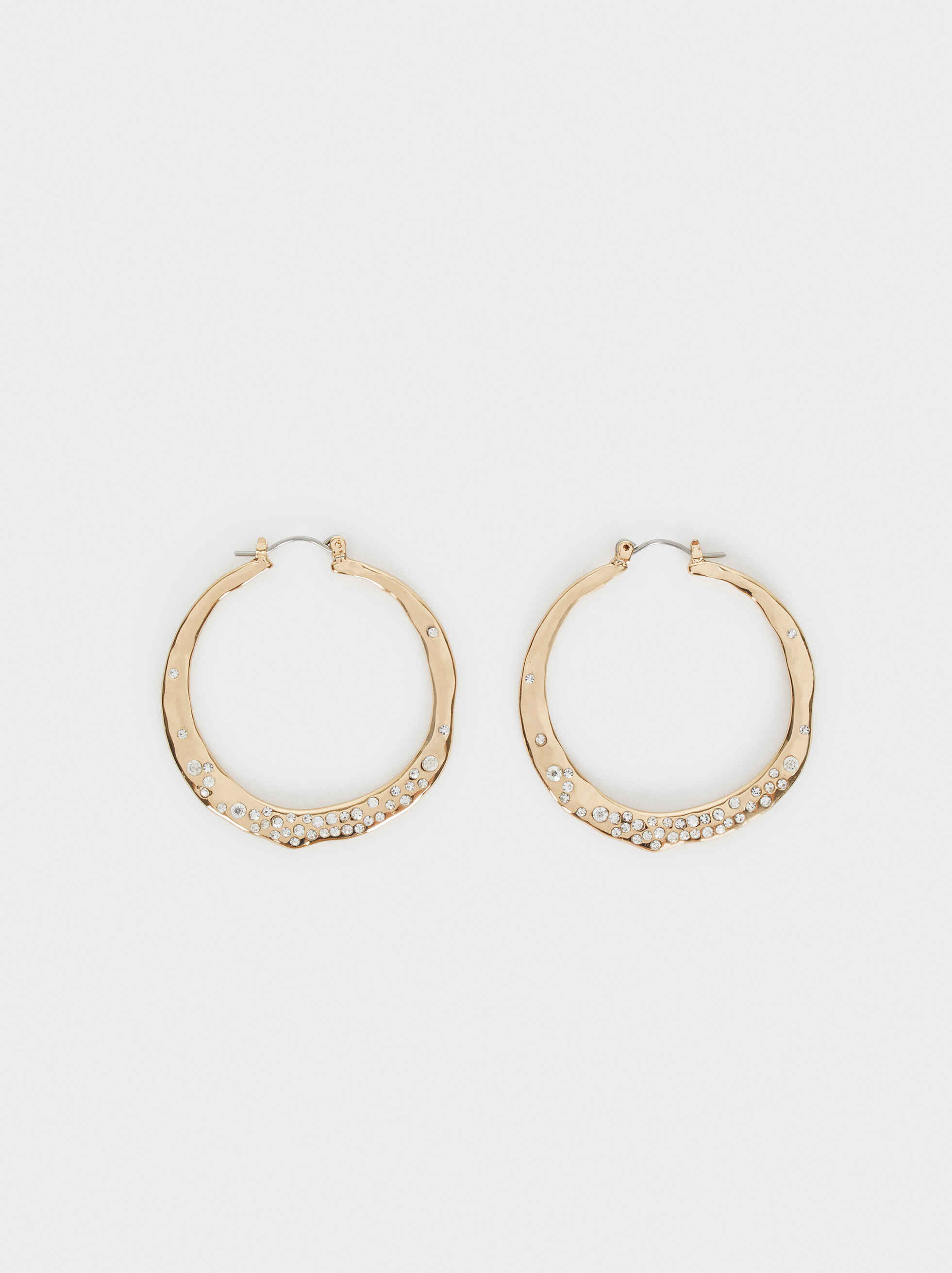 Medium Gold Hoop Earrings With Crystals, , hi-res
