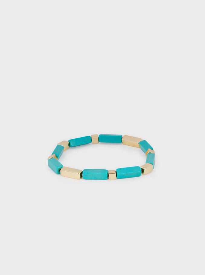 Elastisches Armband Mit Edelsteinen, Blau, hi-res