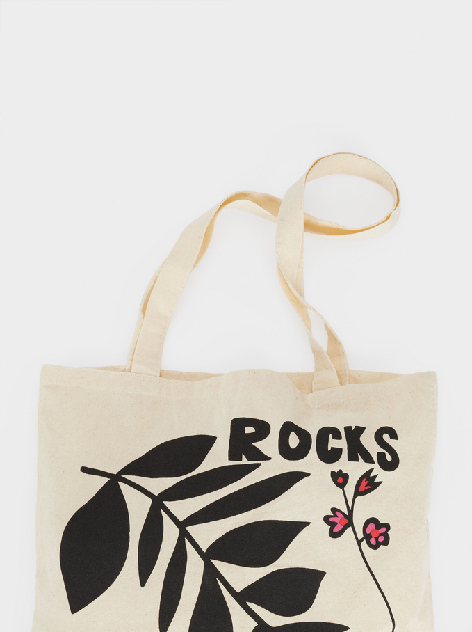 100% Cotton Fabric Bag, Ecru, hi-res