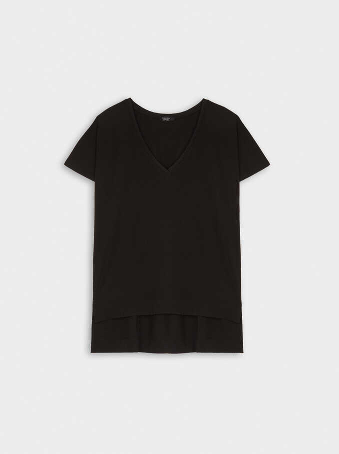 V-Neck T-Shirt, Black, hi-res
