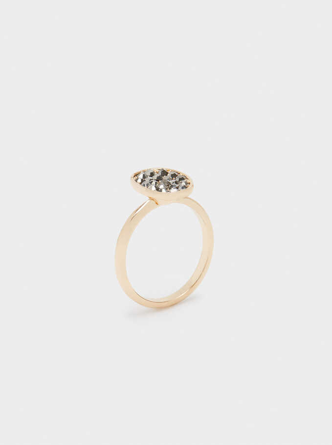 Ring With Crystals, Black, hi-res