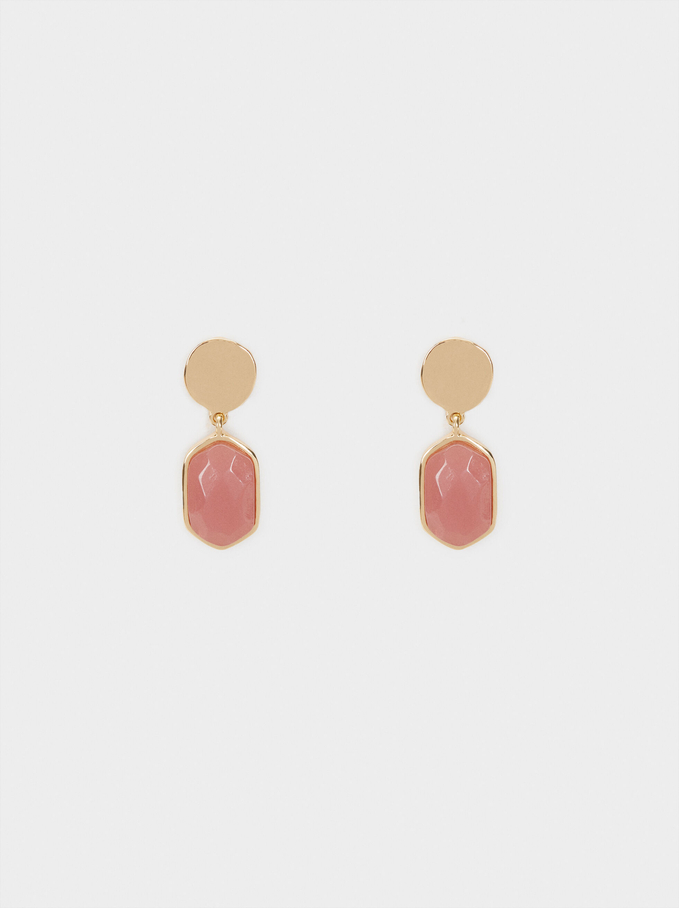 Petrified Short Stud Earrings, Pink, hi-res