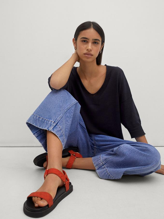 Camisola De Malha Com Decote Em Bico, Azul Marinho, hi-res