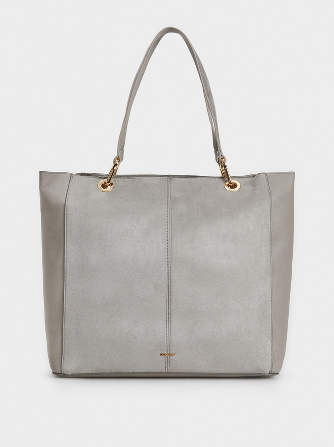 Suede Texture Tote Bag, Grey, hi-res