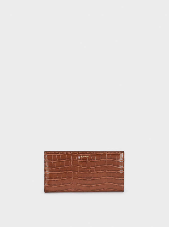 Embossed Animal Print Wallet, Camel, hi-res