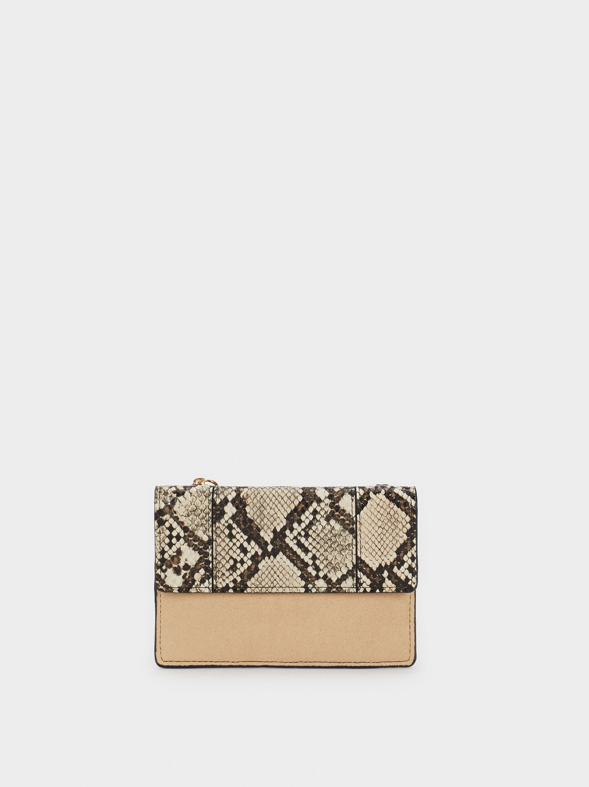 Snake Print Card Holder, Ecru, hi-res