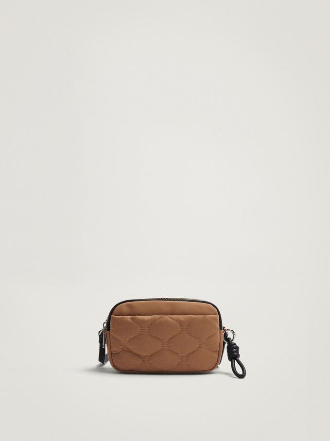 Quilted Nylon Crossbody Bag, Camel, hi-res