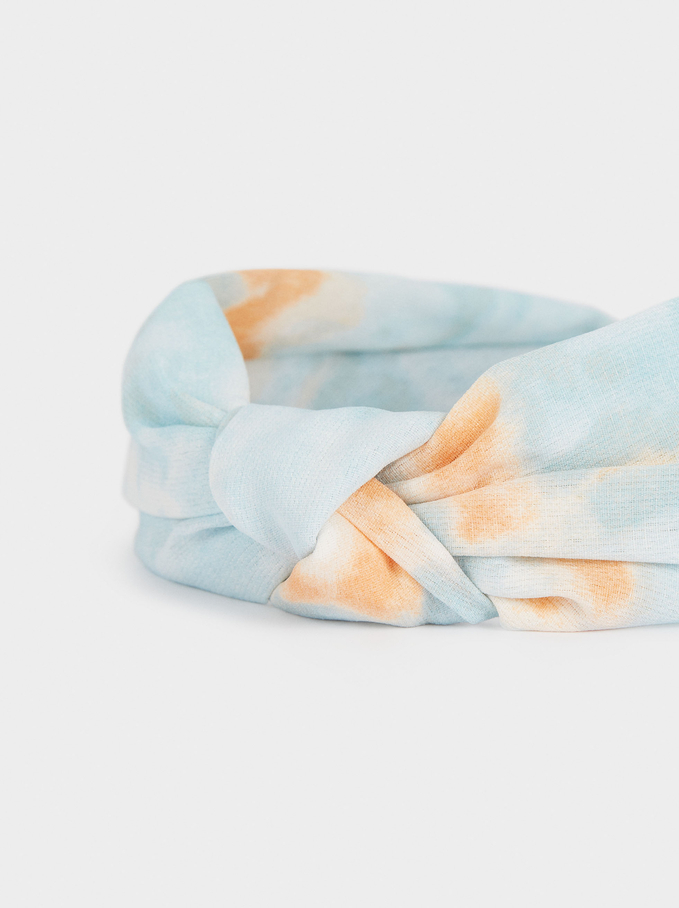 Tie-Dye Wide Headband With Knot, Multicolor, hi-res