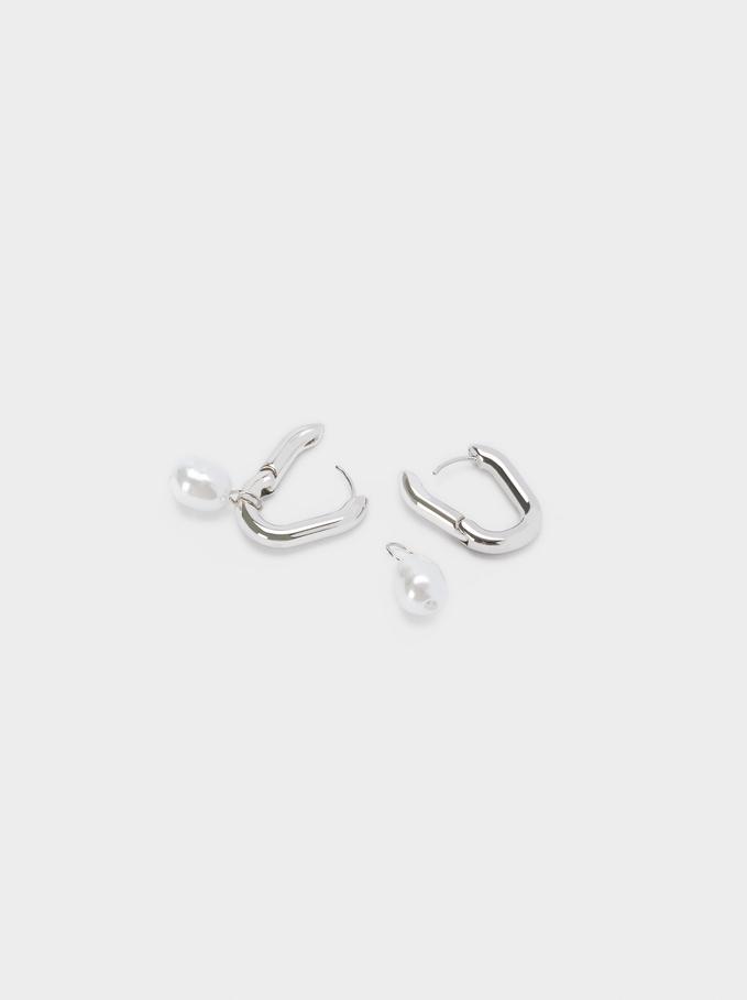 Hoop Earrings With Pearl, Silver, hi-res