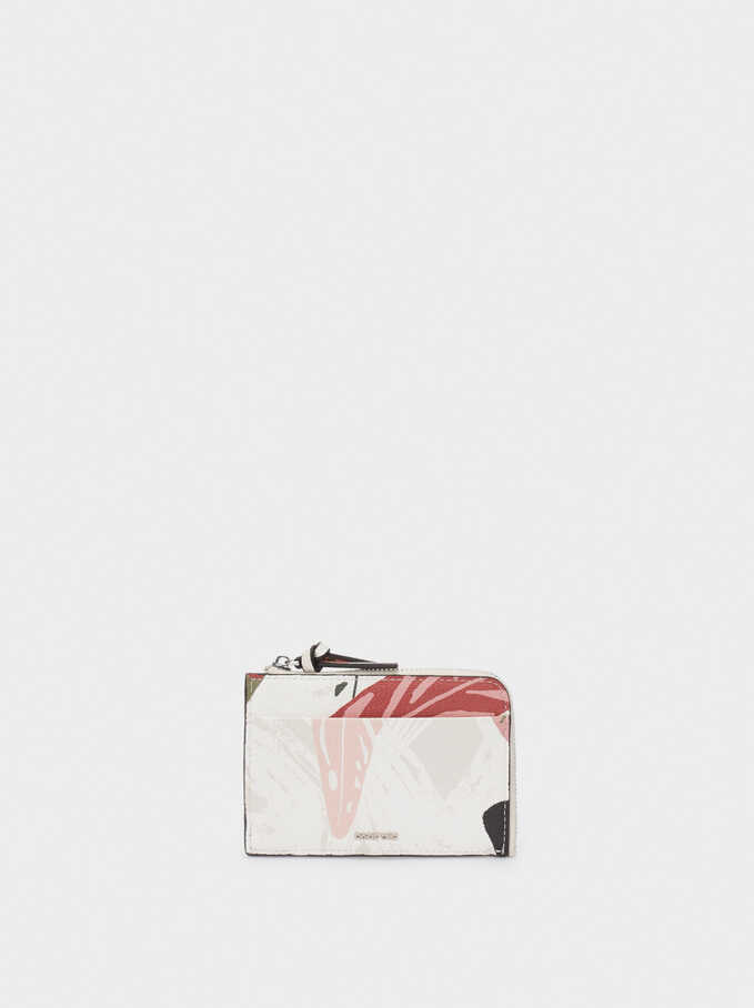 Leaf Printed Wallet, Ecru, hi-res