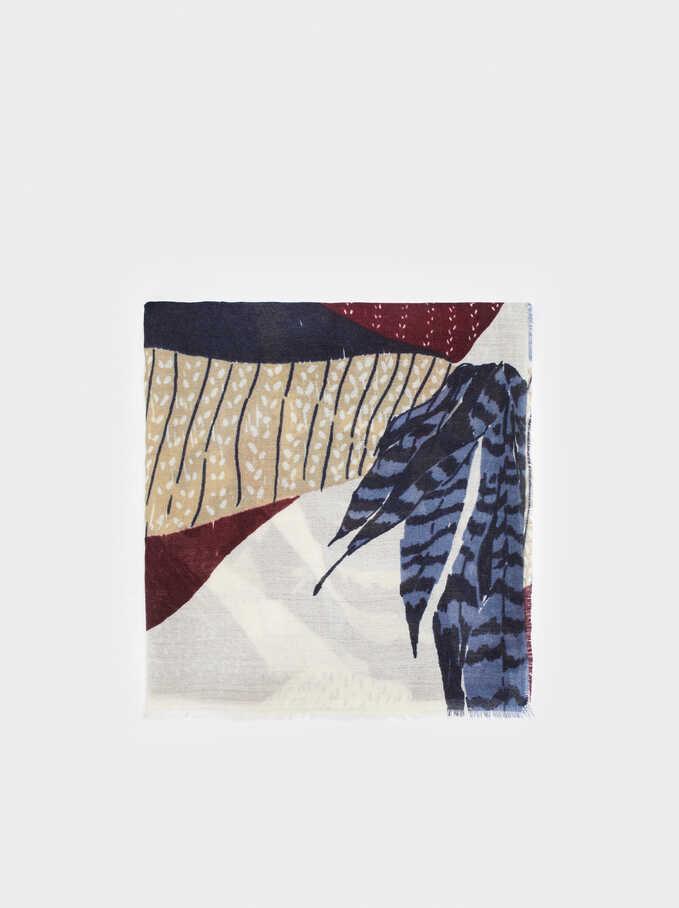 Printed Maxi Scarf, Blue, hi-res
