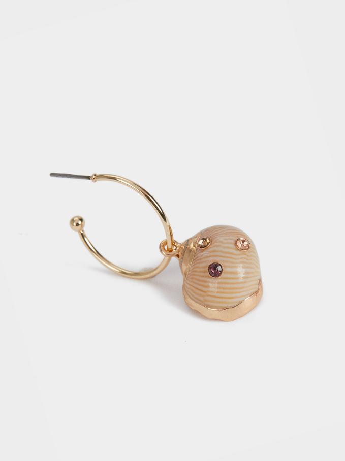 Hoop Earrings With Shell, Multicolor, hi-res