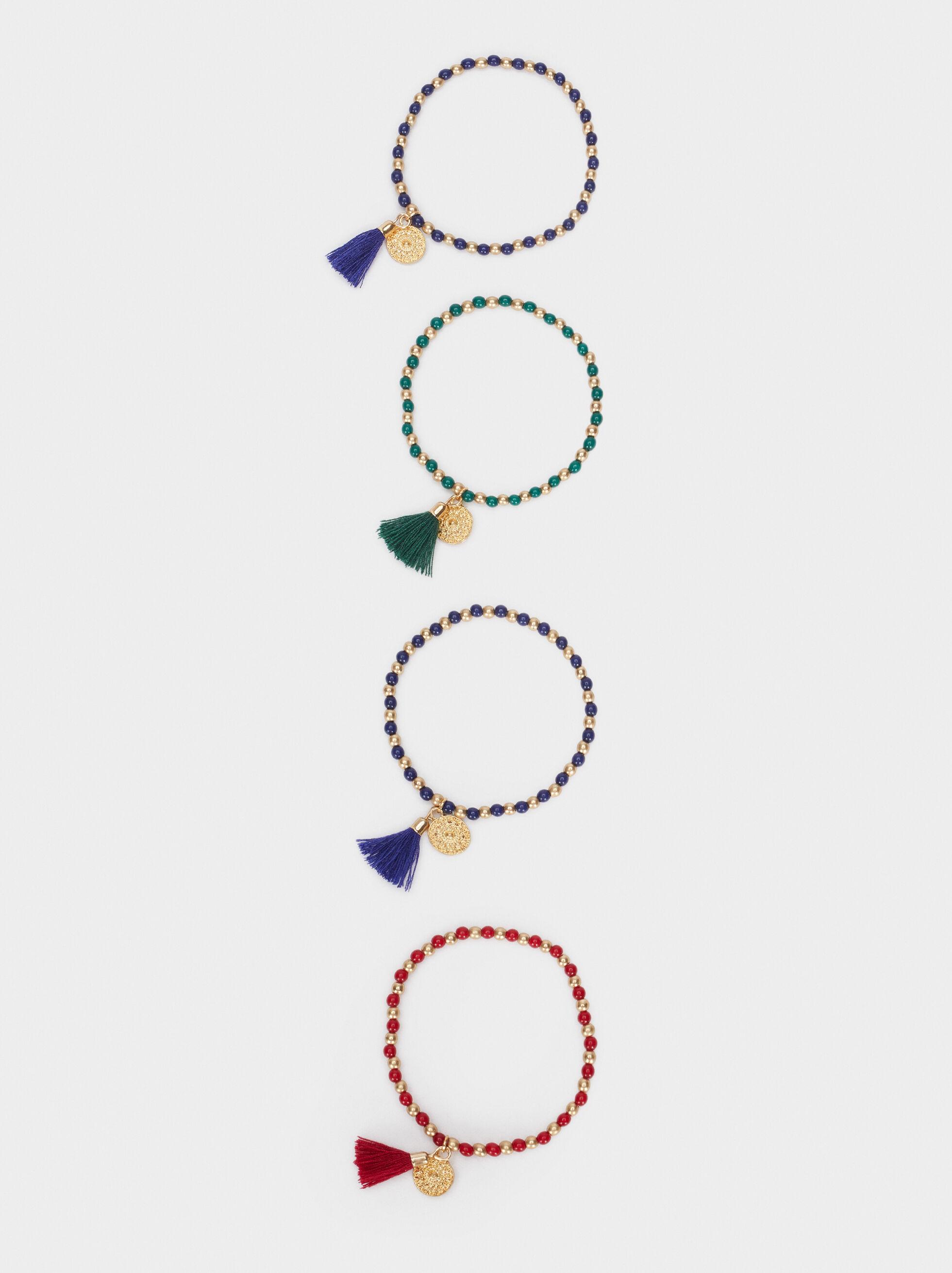 Lot De Bracelets Élastiques Avec Perles Fantaisie, Multicolore, hi-res