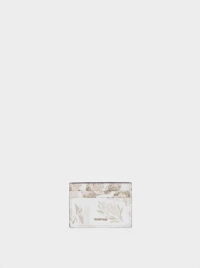 Floral Print Card Holder, Ecru, hi-res