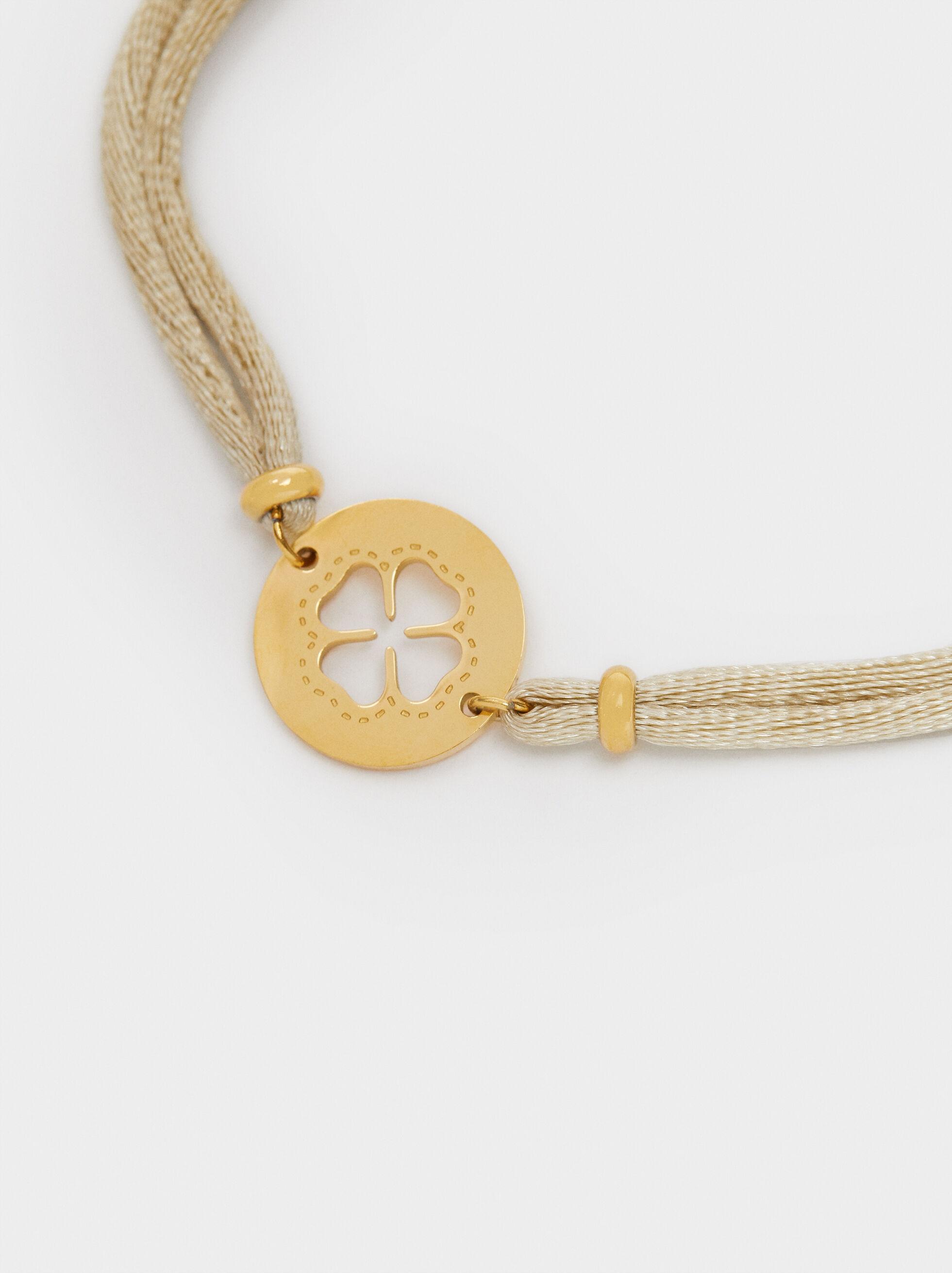 Adjustable Bracelet With Shamrock Detail, Beige, hi-res