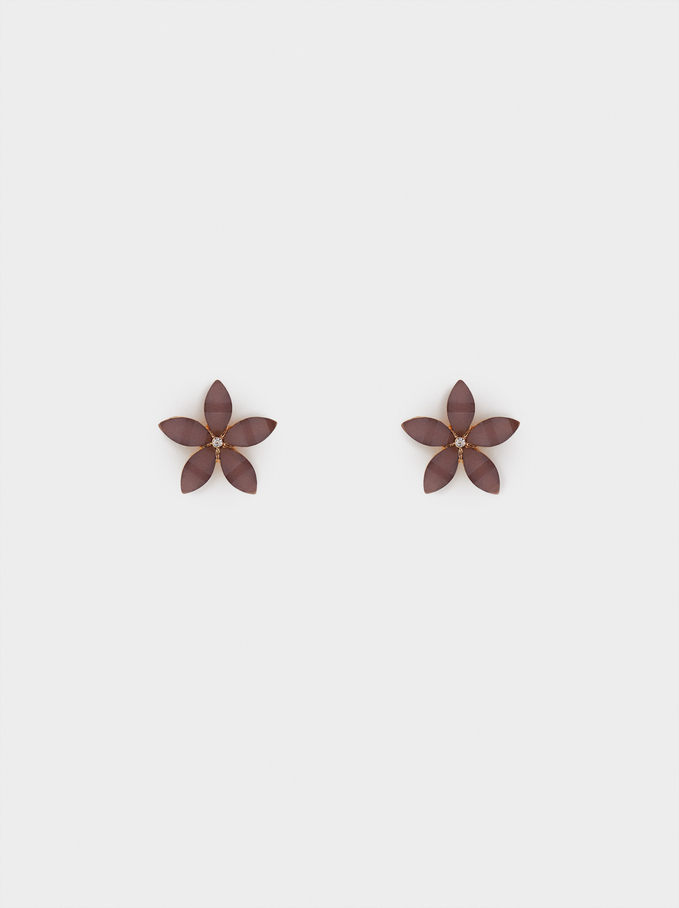 Short Flower Earrings With Crystals, Violet, hi-res