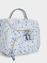 Floral Print Lunch Bag, Blue, hi-res
