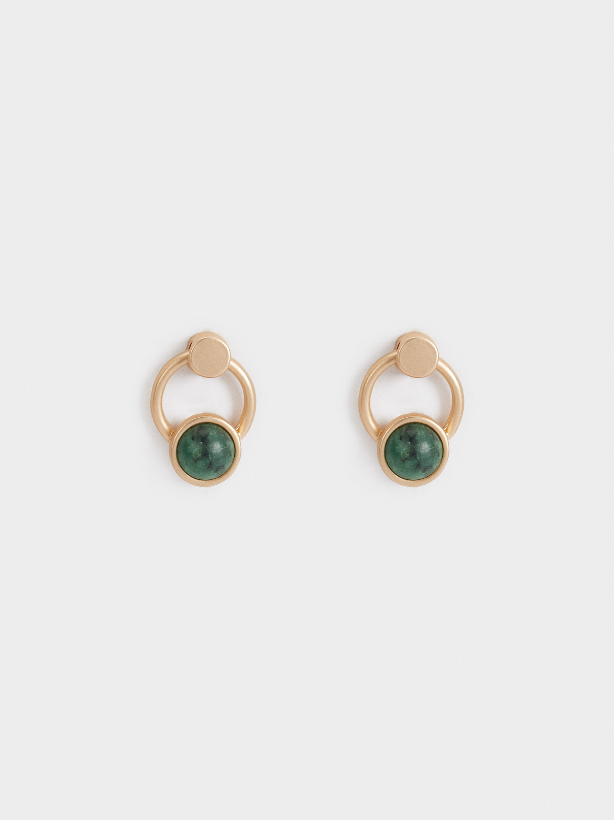 Stone Story Stud Earrings, Green, hi-res