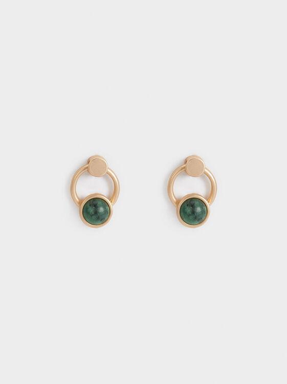 Stone Story Stud Earrings, Green, hi-res