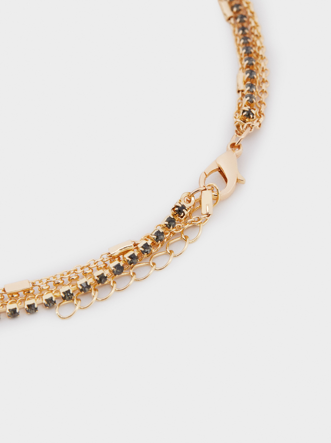 Long Knot Necklace With Crystals, Golden, hi-res