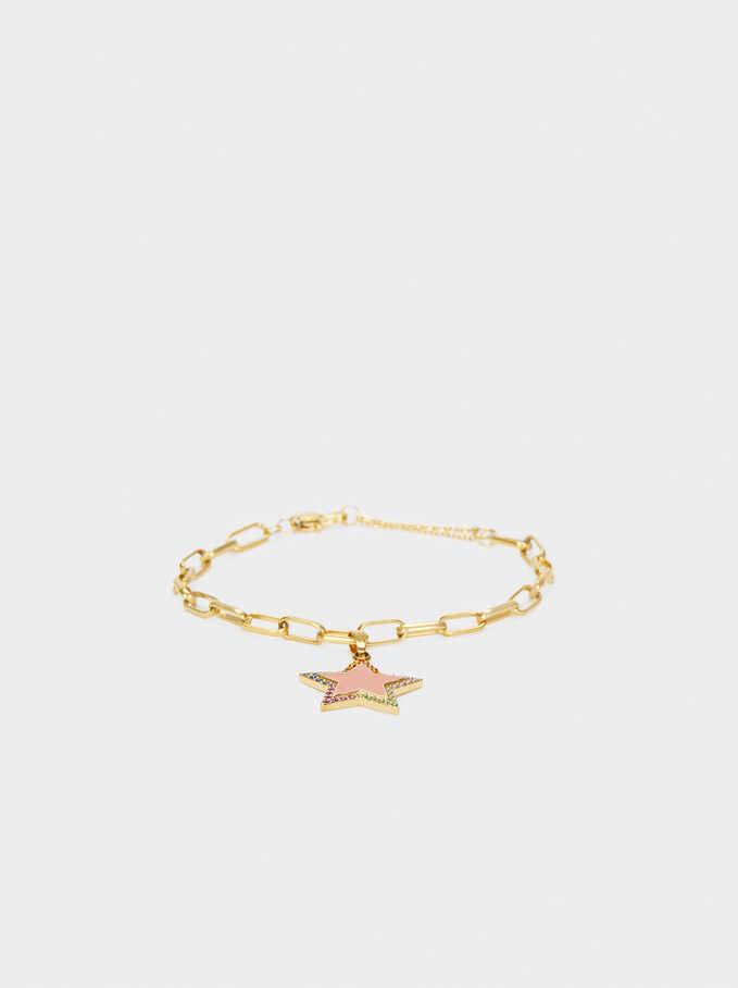 Pulsera De Acero Dorado Corazón Y Estrella, Multicor, hi-res