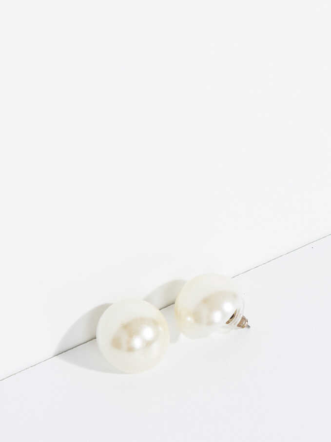 Basic Short Earrings, Beige, hi-res