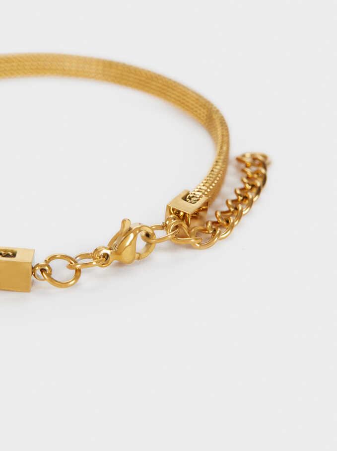 Gold Chain Metal Bracelet, Black, hi-res