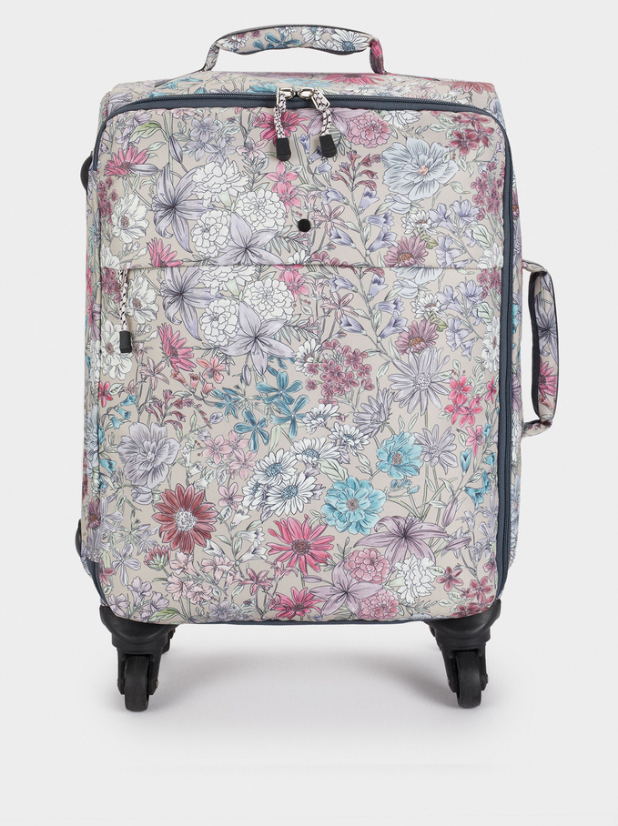 Valise Trolley En Nylon À Imprimé Floral, Marron, hi-res