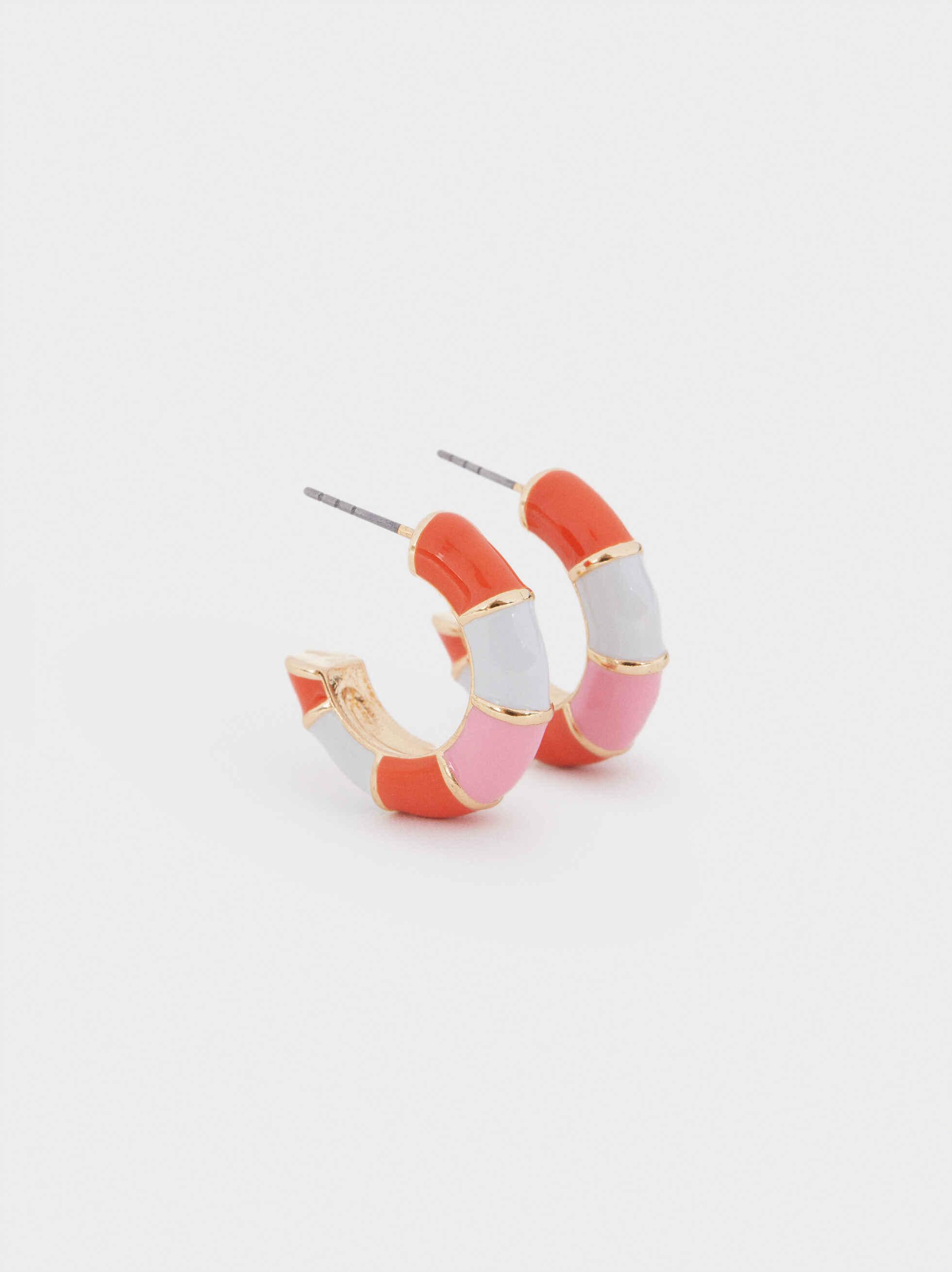 Small Multicolored Hoop Earrings, Multicolor, hi-res