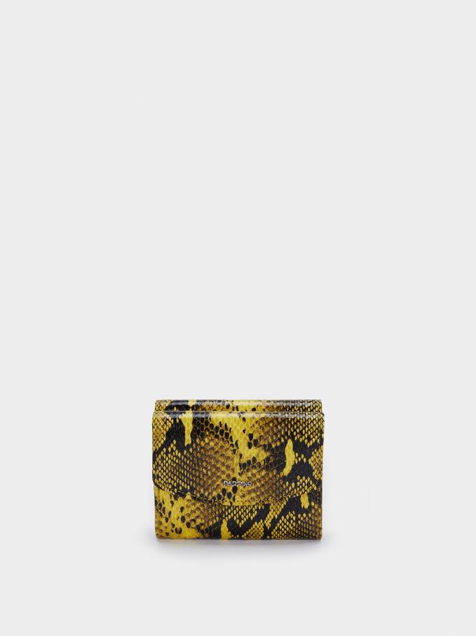 Portefeuille Compact Gravé Animal, Jaune, hi-res