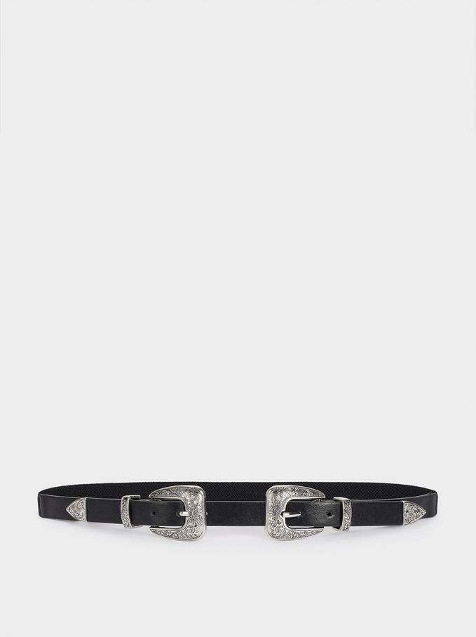 Double Buckle Belt, Black, hi-res