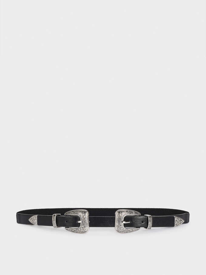 Double Buckle Belt, Black, hi-res