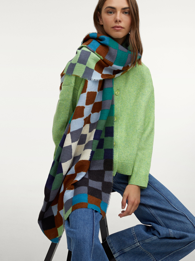 Printed Pleated Scarf, Multicolor, hi-res