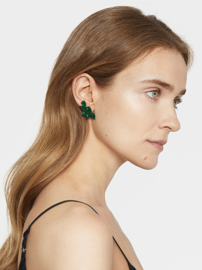 Sparkling Medium Earrings, Green, hi-res