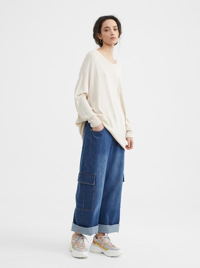 Oversize Knit Sweater, Ecru, hi-res