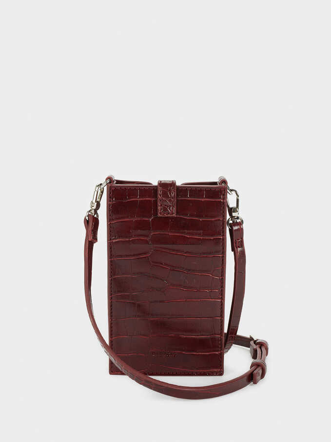 Phone Case With Shoulder Strap, Bordeaux, hi-res