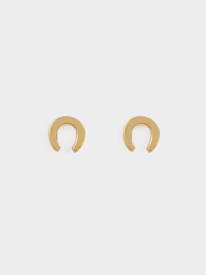 Brincos Curtos De Aço Dourados, Dourado, hi-res