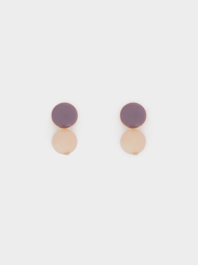 Short Earrings With Gem, Multicolor, hi-res