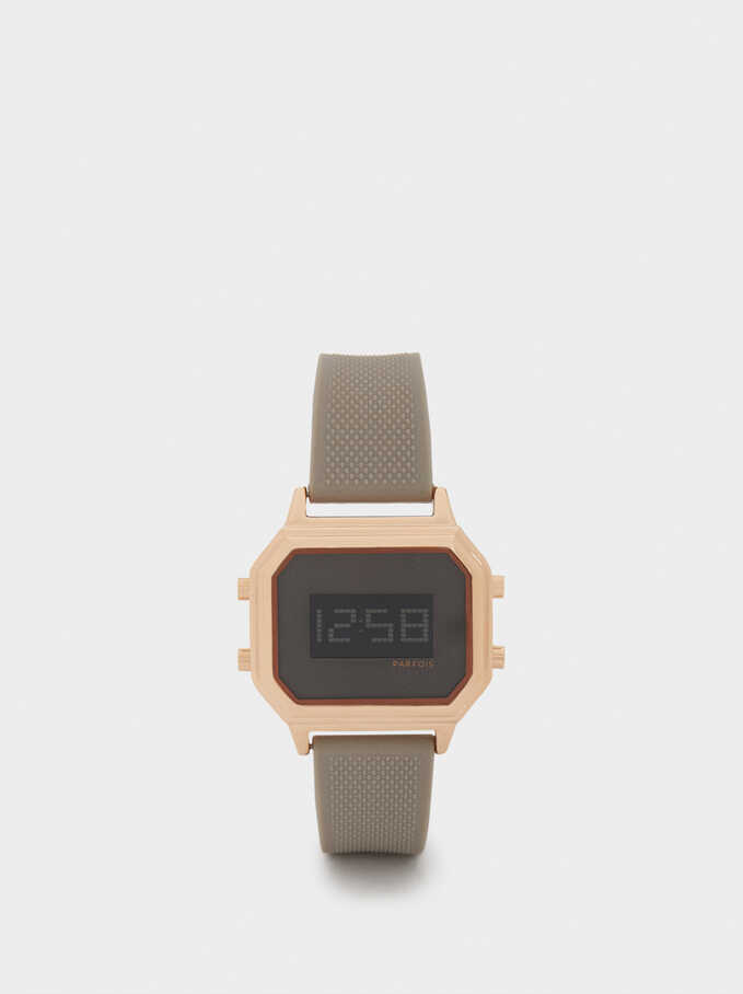 Digital Watch With Silicone Strap, Beige, hi-res