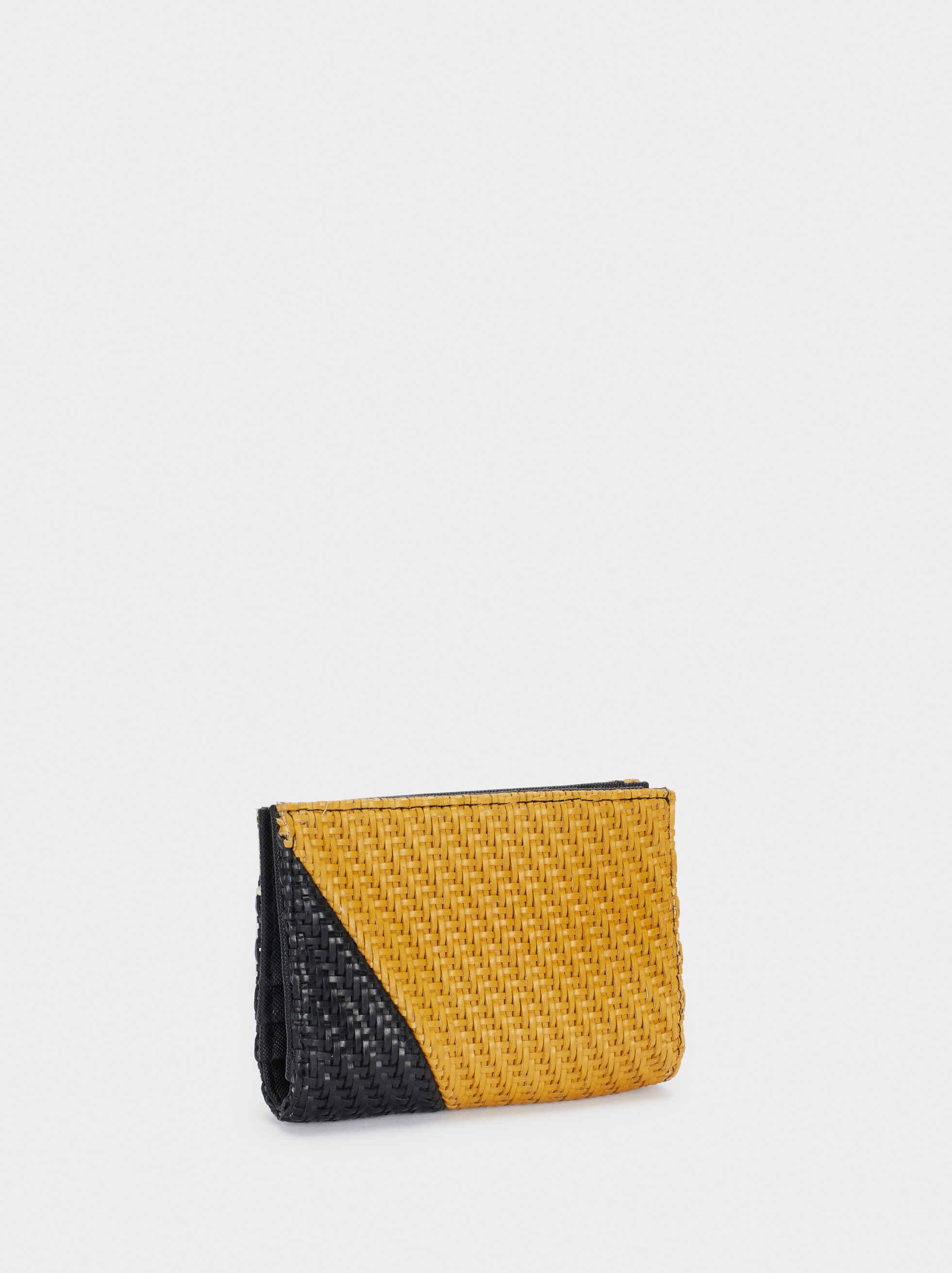 Cartera Compacta Diseño Patchwork Trenzado, Negro, hi-res