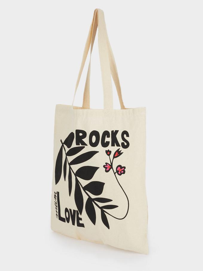 100% Cotton Fabric Bag, Ecru, hi-res