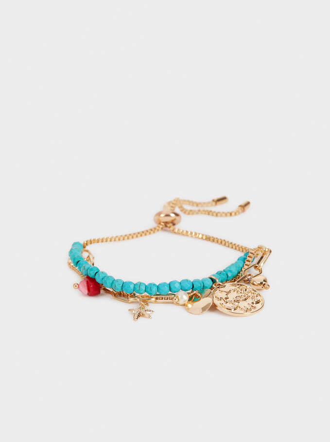 Gold Adjustable Bracelet With Stones , Multicolor, hi-res