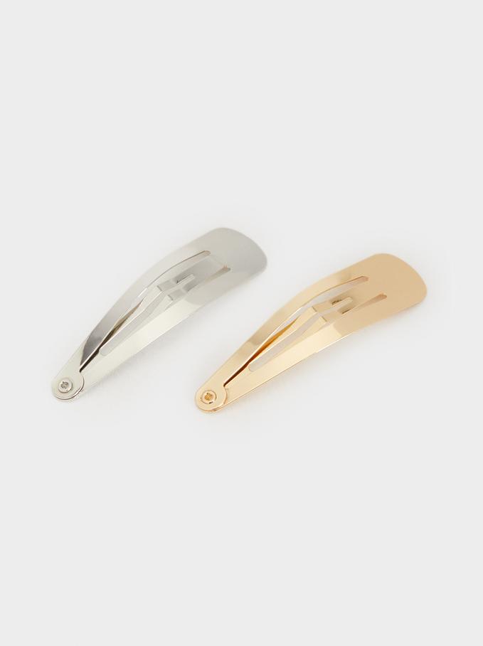 Set Of Basic Hairclips, Golden, hi-res