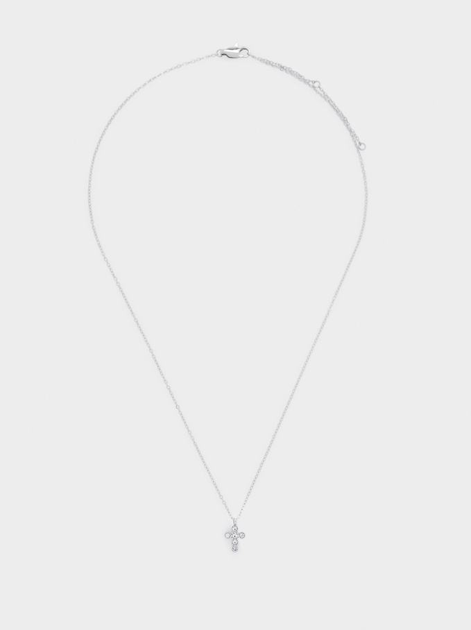 Short Cross Stainless Steel Necklace, Silver, hi-res
