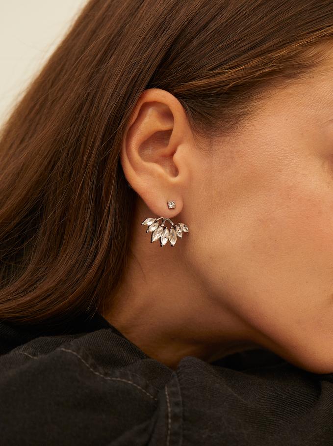 Boucles D'Oreilles Courtes Faux-Diamants, Argent, hi-res