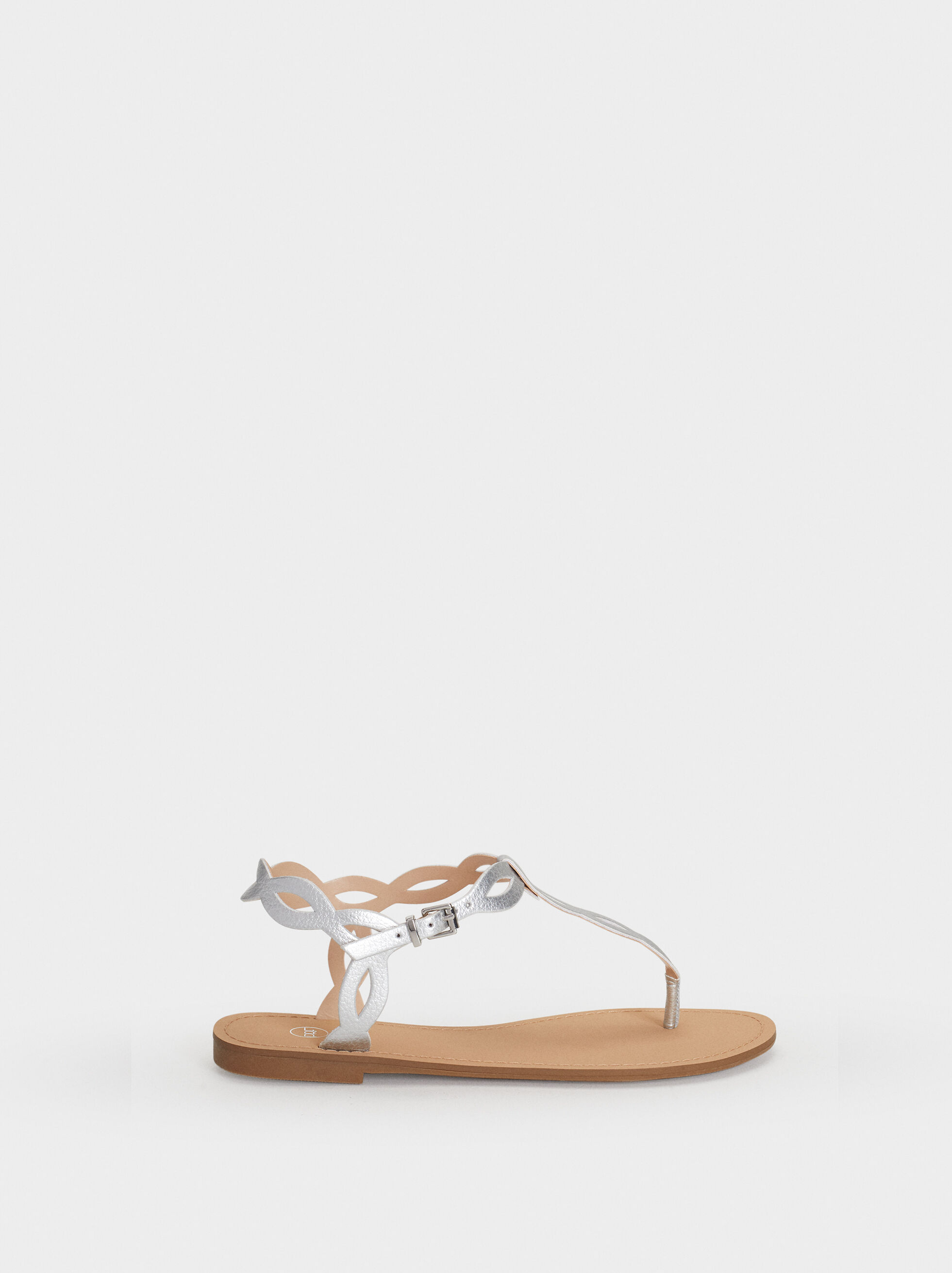 Flat Strappy Sandals, Silver, hi-res